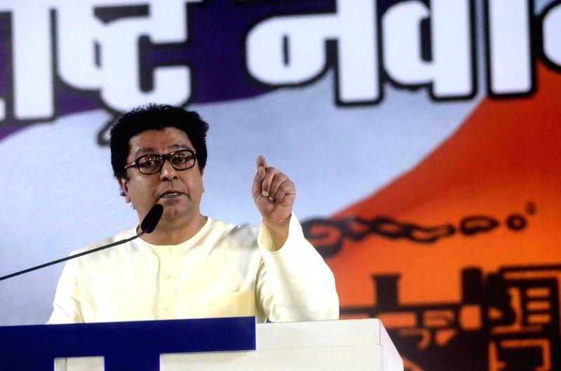 Mumbai: MNS chief Raj Thackeray addresses during a public rally in Mumbai on April 23, 2019. (Photo: IANS)