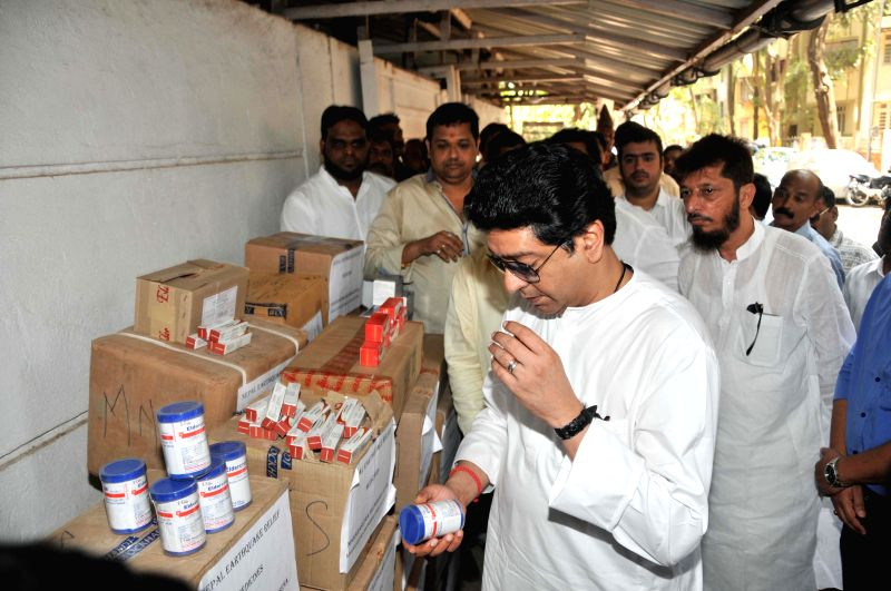 MNS chief Raj Thackeray inspects medicines and other relief materials that are to be dispatched to the earthquake hit Nepal in Mumbai, on May 1, 2015.