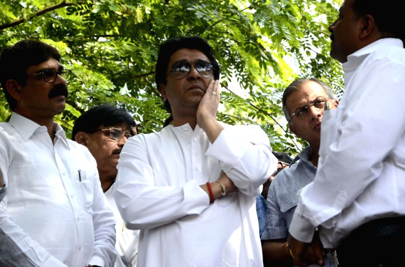 MNS chief Raj Thackeray visits Aarey Milk Colony where a metro car depot is scheduled to be constructed in Goregaon, Mumbai on March 16, 2015. The locals are protesting against the ...