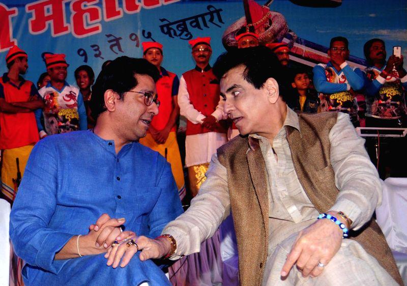 MNS chief Raj Thackeray with actor Jeetendra at the inauguration of `Koli Festival` organised by the party in Mumbai, on Feb 13, 2015. - Jeetendra