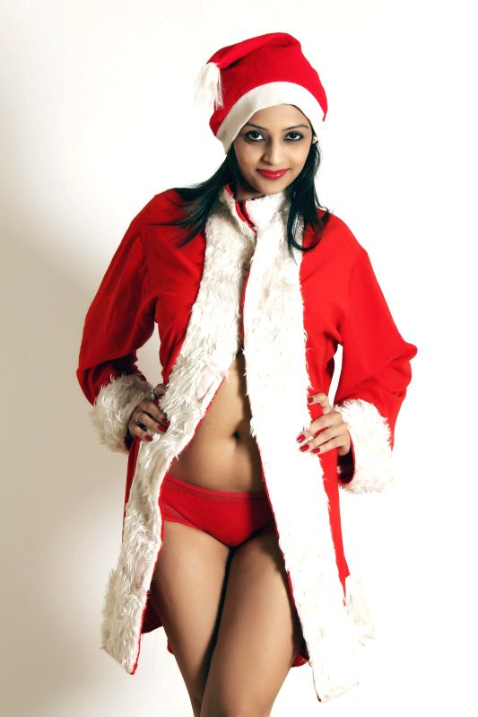 Model Leena Kapoor at Red Hot Santa Claus in Christmas theme photo shoot in Mumbai on Dec. 28, 2014.