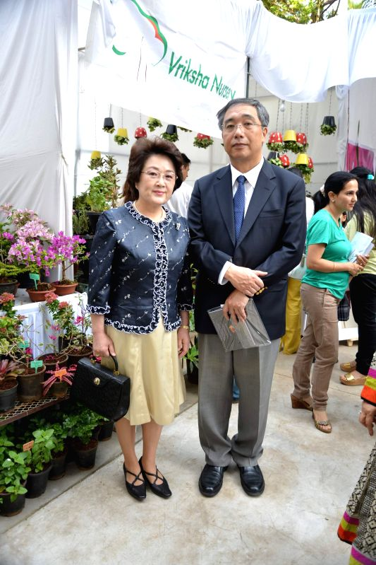 Mrs and Mr. Yoshiaki Ito, Consul General of Japan during the Inauguration of Exotic Bonsai and Ikebana Exhibition in Mumbai on Feb 27, 2015.