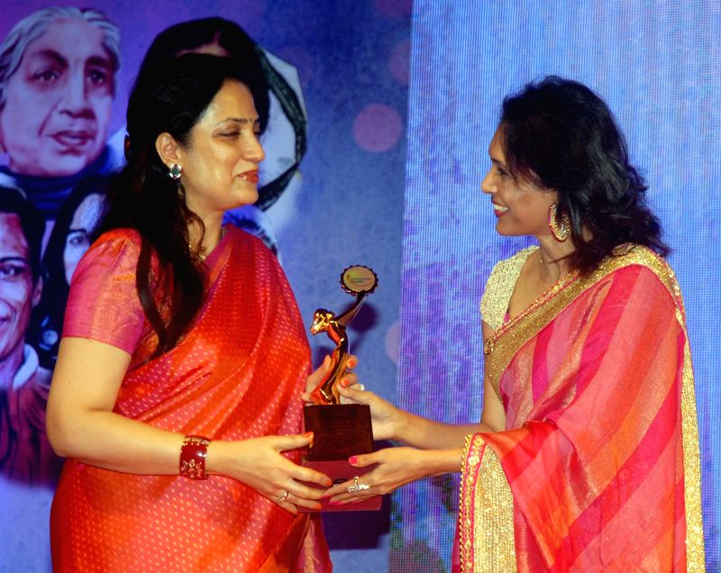 Mrs. Rashmi Thackrey and Org. Dr. Bhavna Raj during the `Being Woman`, a special event on International woman`s day, in Mumbai, on March 8, 2015.