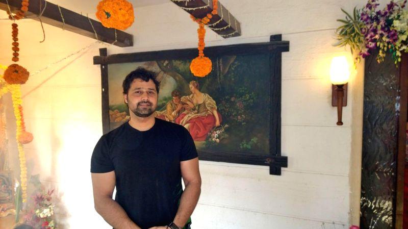 Mudasir Ali at Bappi Lahiri`s Saraswati Puja at his residence in Mumbai on Jan 25, 2015.