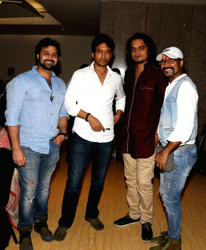 Mudasir Ali, Irrfan Khan, Rahul Mishra and Amit Singh during the film Bumper Draw completion party in Mumbai on April 26, 2015. - Irrfan Khan, Rahul Mishra and Amit Singh