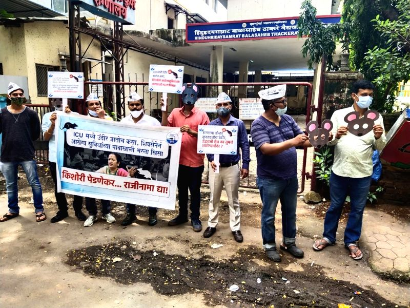 Mumbai : Mumbai Aam Aadmi Party protests against the BMC after a rat bit the face of youth undergoing treatment at the civic-run Rajawadi Hospital.