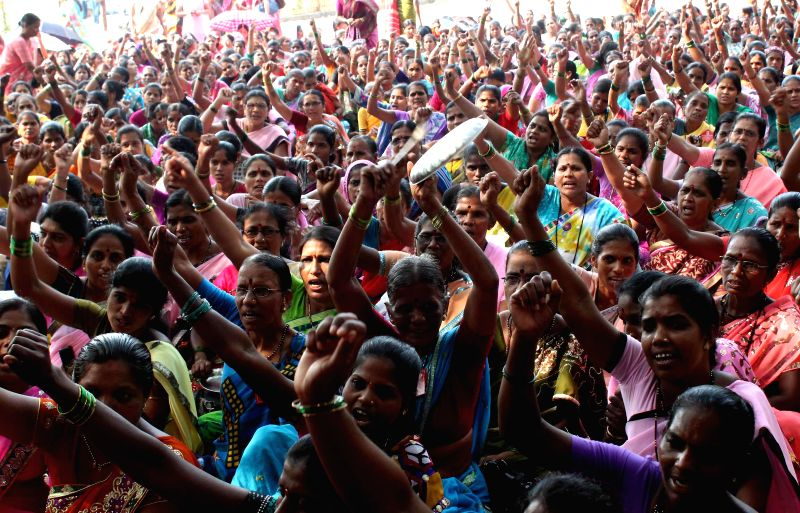 Mumbai: Anganwadi workers stage a demonstration to press for their demands at Azad Maidan in Mumbai, on Nov 18, 2014.