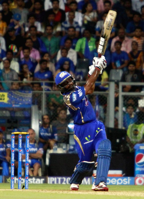 Mumbai Indians batsman Ambati Rayudu in action during an IPL 2015 match between Rajasthan Royals and Mumbai Indians at the Wankhede Stadium in Mumbai, on May 1, 2015. - Ambati Rayudu