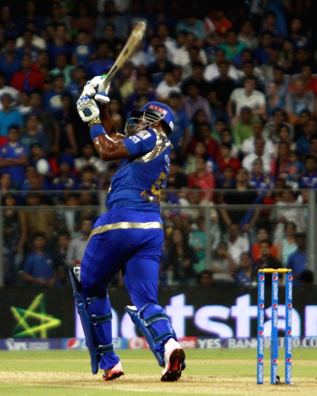 Mumbai Indians batsman Kieron Pollard in action during an IPL 2015 match between Rajasthan Royals and Mumbai Indians at the Wankhede Stadium in Mumbai, on May 1, 2015. - Kieron Pollard
