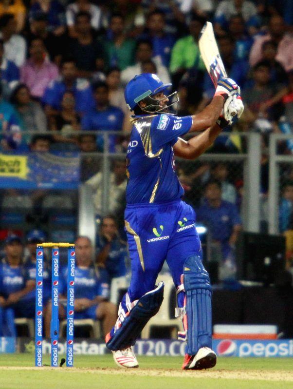 Mumbai Indians batsman Rohit Sharma in action during an IPL 2015 match between Rajasthan Royals and Mumbai Indians at the Wankhede Stadium in Mumbai, on May 1, 2015. - Rohit Sharma