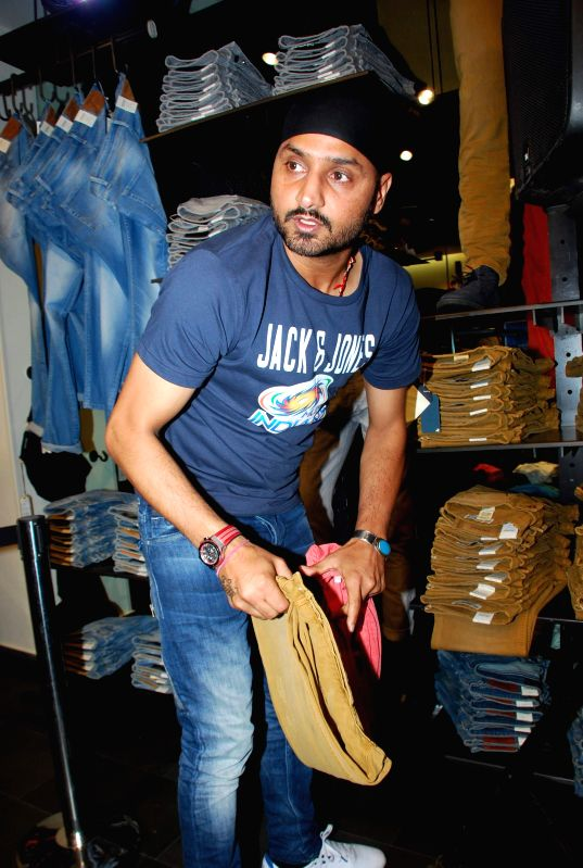 Mumbai Indians cricket player Harbhajan Singh at Jack and Jones store during his visit in Mumbai on, April 29, 2015. - Harbhajan Singh