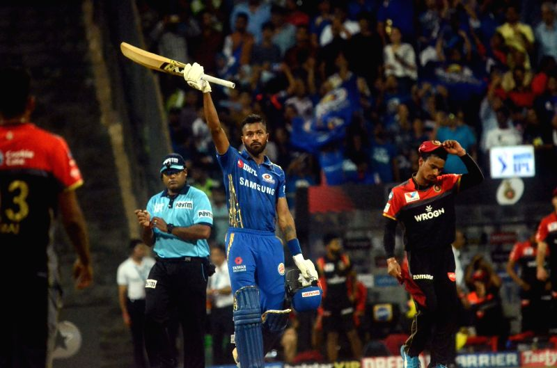 Mumbai: Mumbai Indians' Hardik Pandya celebrates after winning the 31st match of IPL 2019 against Royal Challengers Bangalore at Wankhede Stadium in Mumbai on April 15, 2019. (Photo: Sandip Mahankal/IANS)