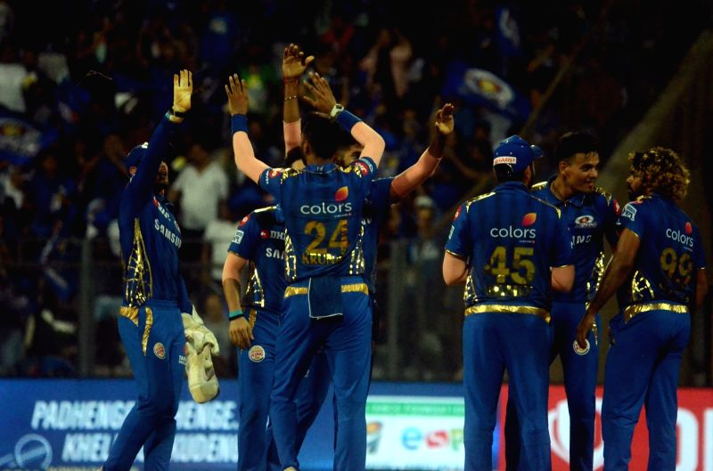 Mumbai: Mumbai Indians' Lasith Malinga celebrates fall of Dinesh Karthik's wicket during the 56th match of IPL 2019 between Kolkata Knight Riders and Mumbai Indians at Wankhede Stadium in Mumbai, on May 5, 2019.