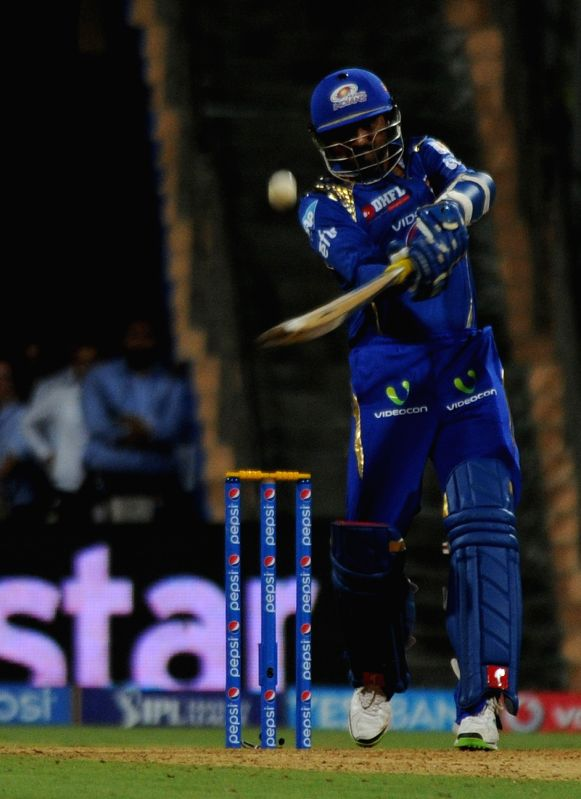 Mumbai Indians player Harbhajan Singh in action during an IPL-2015 match between Mumbai Indians and Kings XI Punjab at Wankhede Stadium, in Mumbai, on April 12, 2015. - Harbhajan Singh