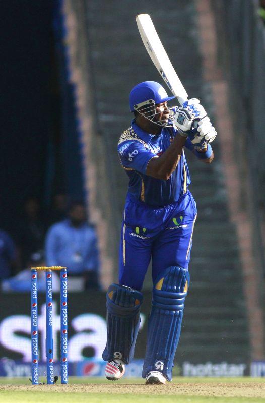 Mumbai Indians player Kieron Pollard in action during an IPL-2015 match between Mumbai Indians and Sunrisers Hyderabad at Wankhede Stadium, in Mumbai, on April 25, 2015.