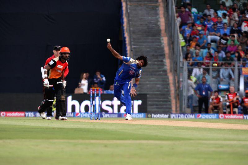 Mumbai Indians player Lasith Malinga in action during an IPL-2015 match between Mumbai Indians and Sunrisers Hyderabad at Wankhede Stadium, in Mumbai, on April 25, 2015.