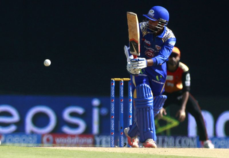 Mumbai Indians player Parthiv Patel in action during an IPL-2015 match between Mumbai Indians and Sunrisers Hyderabad at Wankhede Stadium, in Mumbai, on April 25, 2015. - Parthiv Patel
