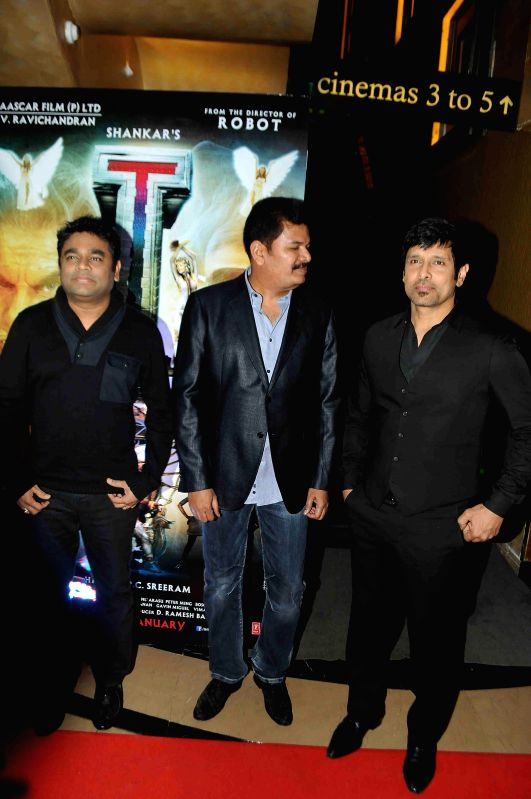 Music director A R Rehman, filmmaker Shanker and actor Vikram during the press conference and trailer launch of forthcoming Tamil film `I` in Mumbai on Dec 29, 2014. - Vikram and A R Rehman