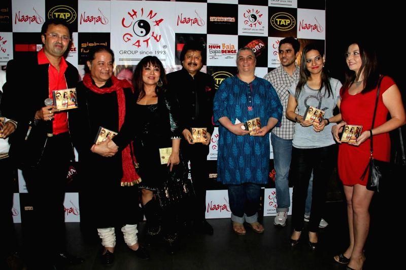 Music director Nikhil Kamath, Ghazal singer Pankaj Udhas, Bhajan singer Anup Jalota, Italian opera singer Gioconda Vessichelli and singer Preeti Bhalla during the music launch of film Hum ...