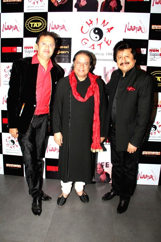 Music director Nikhil Kamath, Ghazal singer Pankaj Udhas and Bhajan singer Anup Jalota during the music launch of film Hum Baaja Baja Denge in Mumbai, on March 17, 2015.