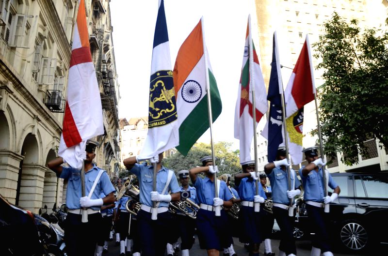 Navy personnel during rehearsals for Navy Day celebrations in Mumbai, on Dec 1, 2014.