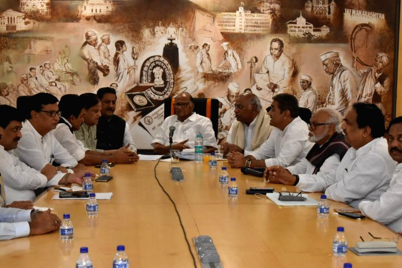 Mumbai: NCP chief Sharad Pawar, party leaders Chhagan Bhujbal, Prithviraj Chavan and Congress leaders Mallikarjun Kharge, KC Venugopal and Ahmed Patel during a joint party meeting to discuss issues related to government formation in Maharashtra, in M