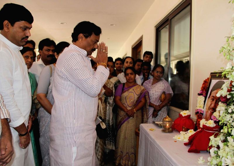 NCP leaders pay tribute to late R R Patil during a programme organised at Party Headquarters in Mumbai on Feb. 23, 2015.