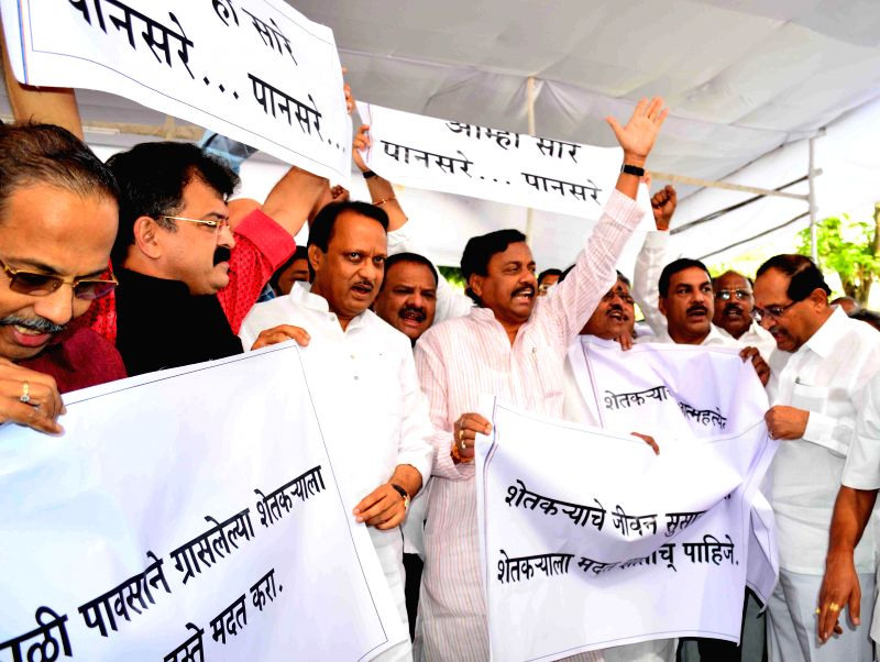 NCP leaders stage a demonstration against BJP-Shiv Sena government in Mumbai, on March 9, 2015.