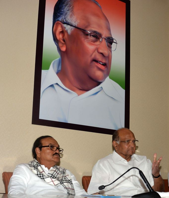 NCP president Sharad Pawar during a state party leaders meeting at Party headquarter in Mumbai on Feb. 3, 2015. Also seen NCP leader Chagan Bhujbal.