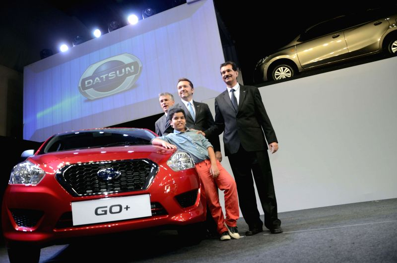 Nissan India President (Operations) Guillaume Sicard and Global Head of Datsun Vincent Cobee at the launch of Datsun Go+ in Mumbai, on Jan 15, 2015.