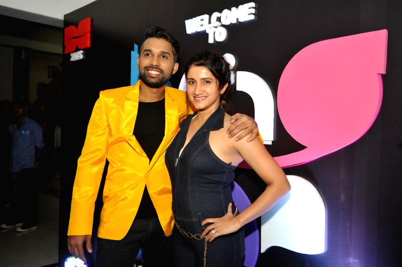 Nitin Suri and Model Smiley Suri during the 2nd edition of Dance Central`s Annual Student Showcase in Mumbai, on Feb 22, 2015. - Smiley Suri