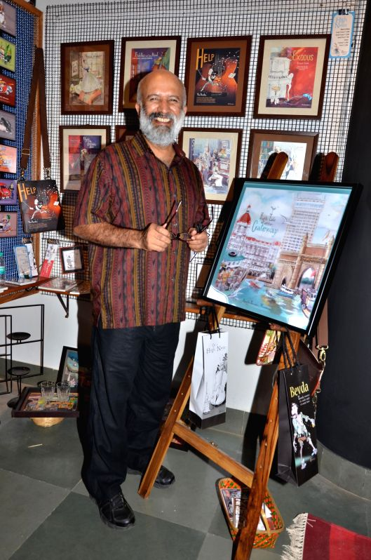 Paul Fernandes during opening of a cartoon gallery ``aPaulogy`` by himself in Mumbai on Dec 13, 2014.