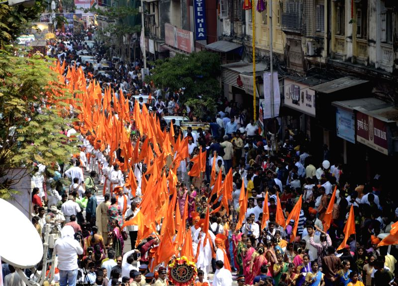 People celebrate Gudi Padwa in Mumbai on March 21, 2015.