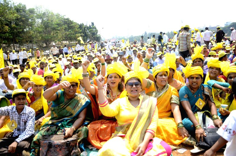 People from Dhangar community stage a demonstration to press for their various demands at Azad Maidan in Mumbai, on March 23, 2015.