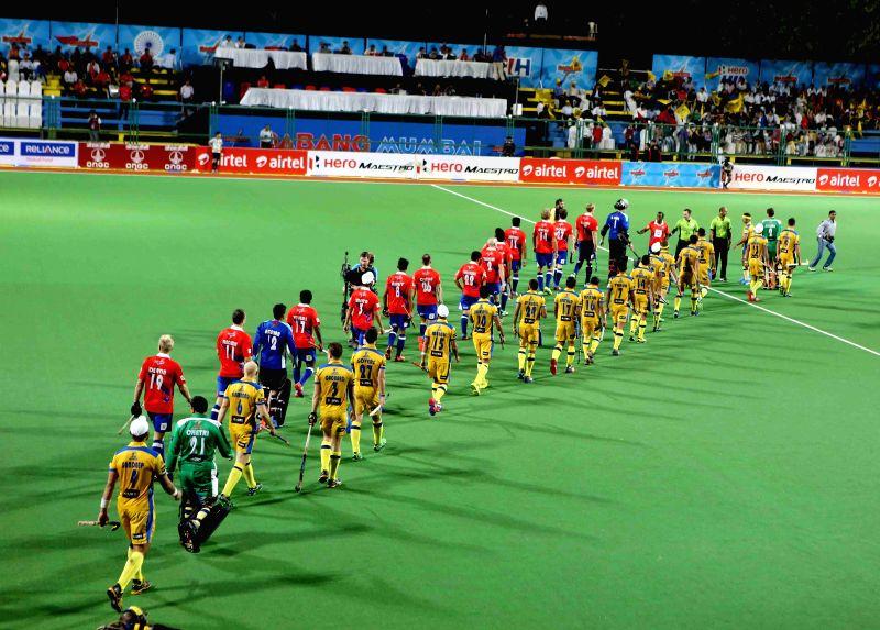 Players during a Hockey India League match between Dabang Mumbai and Punjab Warriors in Mumbai, on Jan 23, 2015.