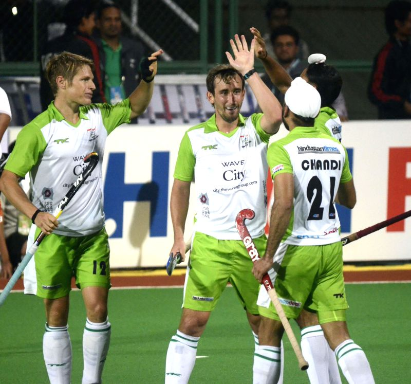 Players in action during a Hero Hockey India League 2015 match between Dabang Mumbai and Delhi Waveriders at The Mumbai Hockey Association, Churchgate in Mumbai, on Feb. 5, 2015.