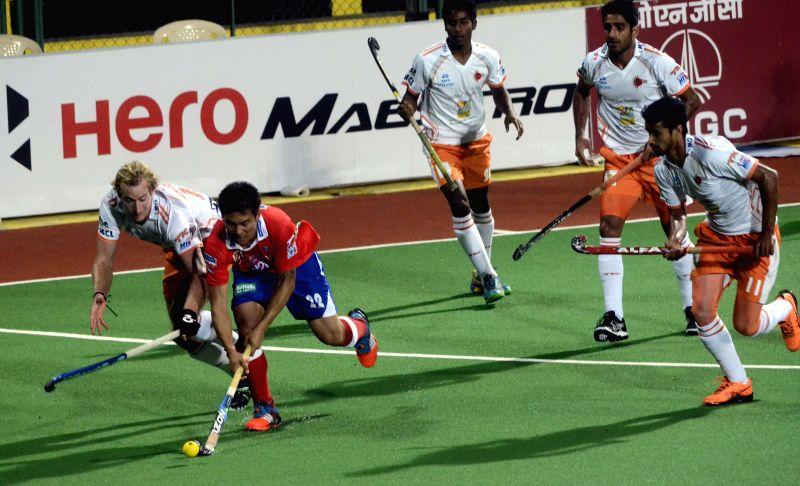 Players in action during a Hero Hockey India League 2015 match between Dabang Mumbai and Kalinga Lancers at The Mumbai Hockey Association, Churchgate in Mumbai, on Feb. 8, 2015.