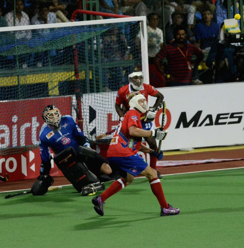 Players in action during a Hockey India League 2015 match between Dabang Mumbai and Kalinga Lancers at The Mumbai Hockey Association, Churchgate in Mumbai, on Feb. 8, 2015.
