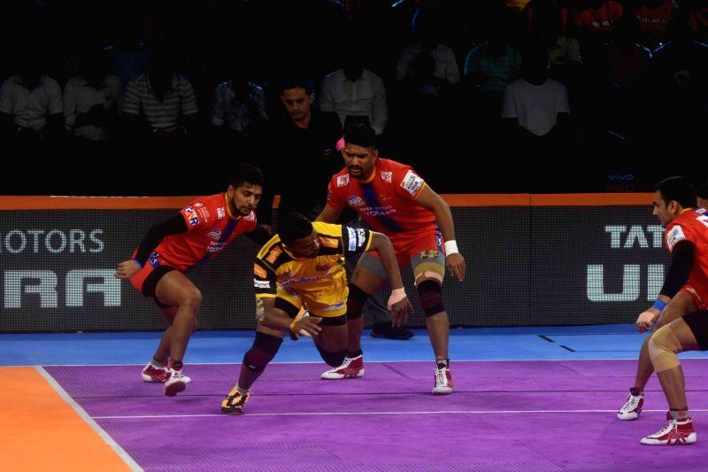 Mumbai: Players in action during a Pro Kabaddi Season 7 match between Gujarat FortuneGiants and Dabang Delhi K.C. at National Sports Club of India in Mumbai on Aug 2, 2019. (Photo: IANS)