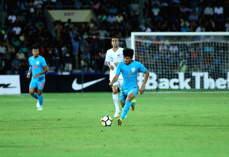:Mumbai: Players in action during an Intercontinental Cup 2018 match between India and New Zealand in Mumbai, on June 7, 2018. .