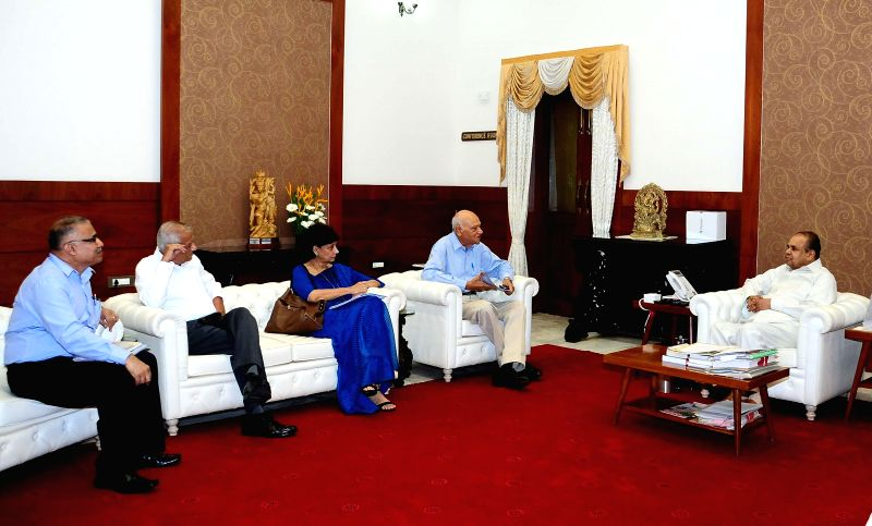 Mumbai Police Commissioner J F Ribeiro, Director of Commonwealth Human Rights Initiative (CHRI) Maja Daruwala and Convener of Police Reforms Watch (Mumbai) Dolphy D'souza during a meeting with ...