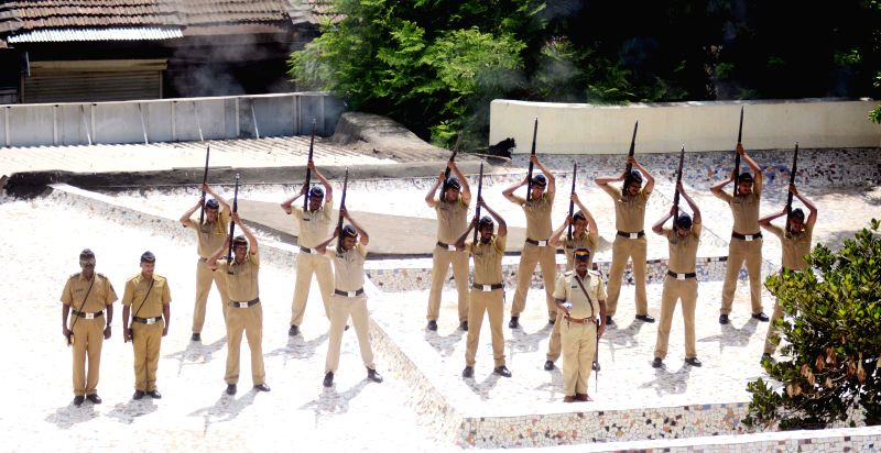 Policemen at the funeral of Senior Police Inspector Vilas Joshi, who succumbed to his injuries after being shot at by his subordinate, underway in Mumbai, on May 3, 2015.