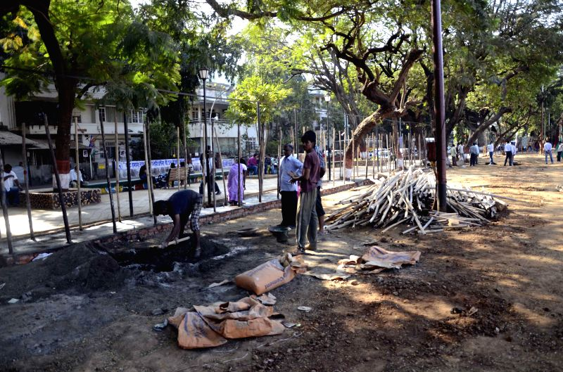 Preparations for programmes scheduled to be organised on Dr. B. R. Ambedkar's death anniversary underway at Chaitya Bhoomi in Mumbai, on Nov 30, 2014.