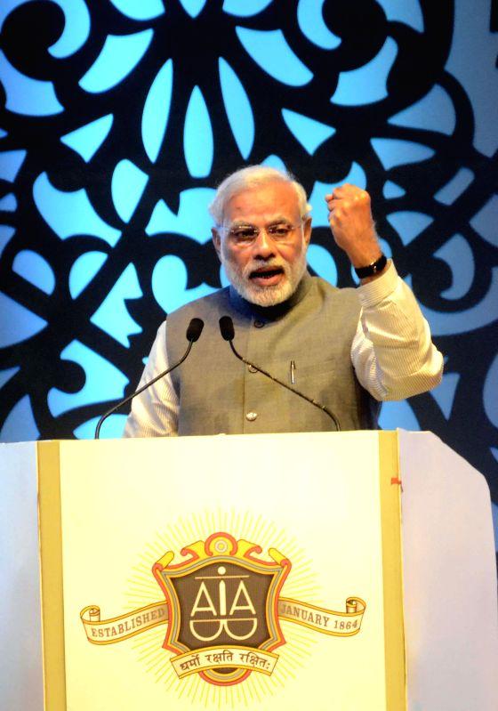 Prime Minister Narendra Modi addresses at the Sesquicentennial function of Advocates' Association of Western India, in Mumbai, Maharashtra on Feb 14, 2015. - Narendra Modi