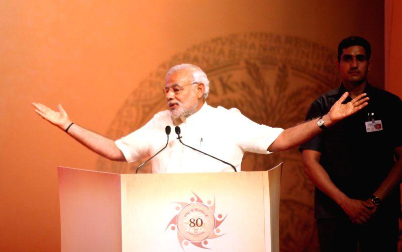 Prime Minister Narendra Modi addresses at the Financial Inclusion Conference of RBI, in Mumbai on April 2, 2015. - Narendra Modi