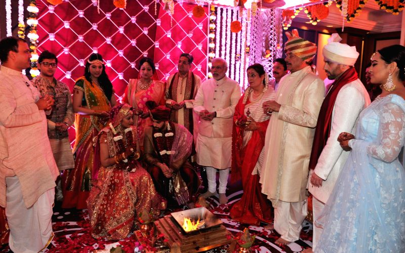 Prime Minister Narendra Modi during the wedding ceremony of actor-politician Shatrughan Sinha's son Kussh to Taruna Agarwal in Mumbai, on Jan 18, 2015. - Narendra Modi