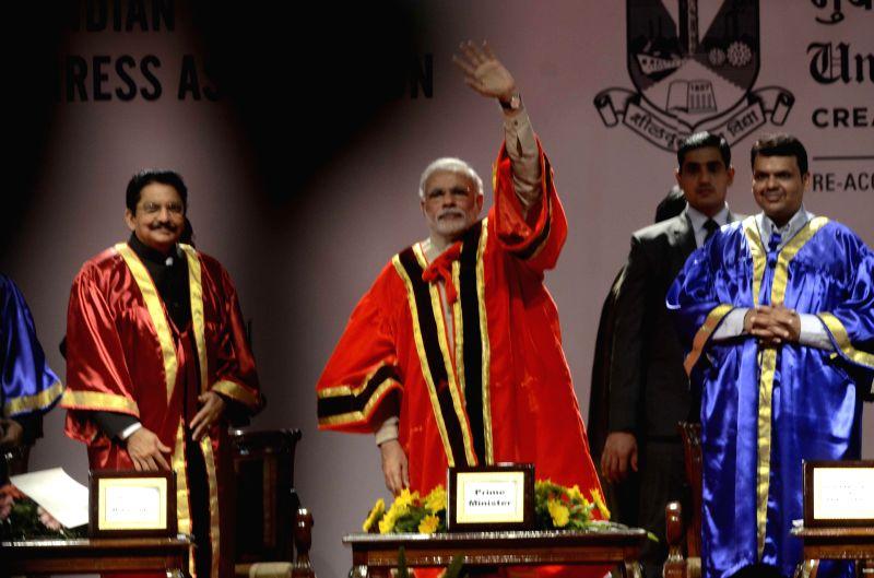 Prime Minister Narendra Modi inaugurating 102nd Indian Science Congress 2015 at the Mumbai University on Jan. 3, 2014.  Also present were on the occasion Maharashtra Governor Ch Vidyasagar ... - Narendra Modi and Vidyasagar Rao