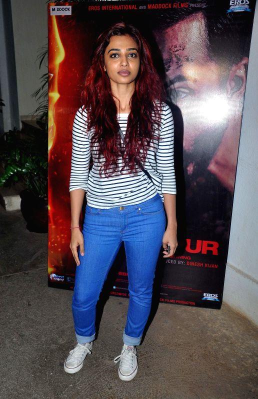 Radhika Apte during the special screening of the movie Badlapur in Mumbai on 18th Feb, 2015.