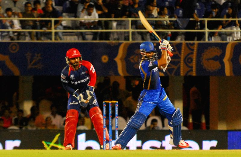 Rajasthan Royals batsman Ajinkya Rahane celebrates his half century during an IPL-2015 match between Rajasthan Royals  and Delhi Daredevils at the Brabourne Stadium in Mumbai, on May 3, 2015. - Ajinkya Rahane