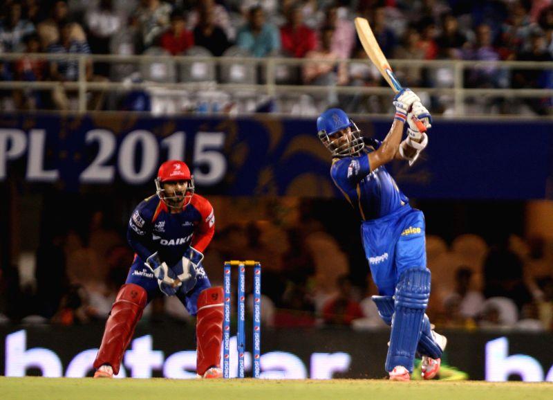 Rajasthan Royals batsman Ajinkya Rahane in action during an IPL-2015 match between Rajasthan Royals  and Delhi Daredevils at the Brabourne Stadium in Mumbai, on May 3, 2015. - Ajinkya Rahane